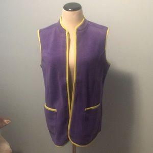 Warm fleece Susan Graver vest, purple and green